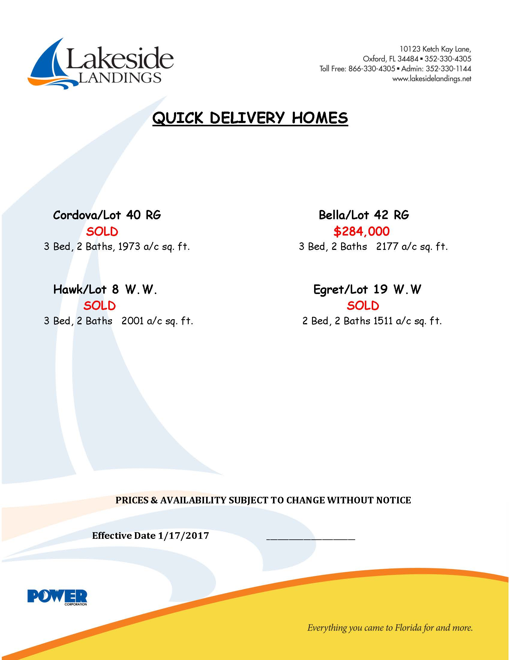 Quick delivery homes price list lakeside landings for Home builders price list